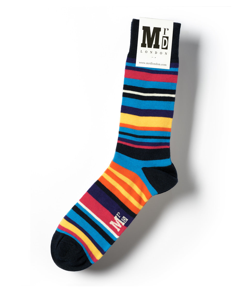 Multi Stripe Fine Sock - Navy