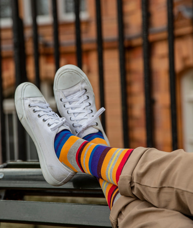 Multi Stripe Fine Sock - Grey