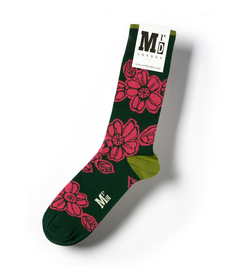 Batik Flower Fine Sock - Green