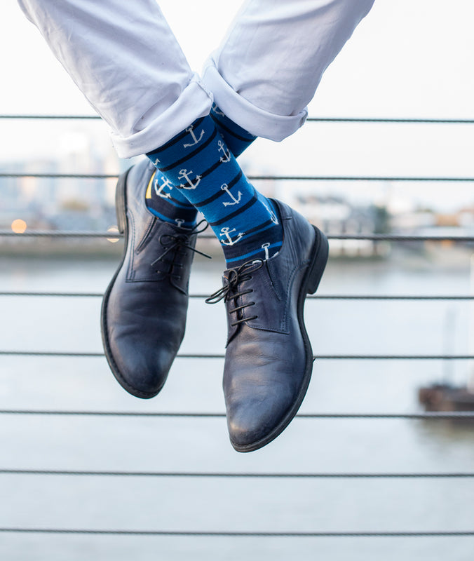 Anchors Fine Sock - Blue