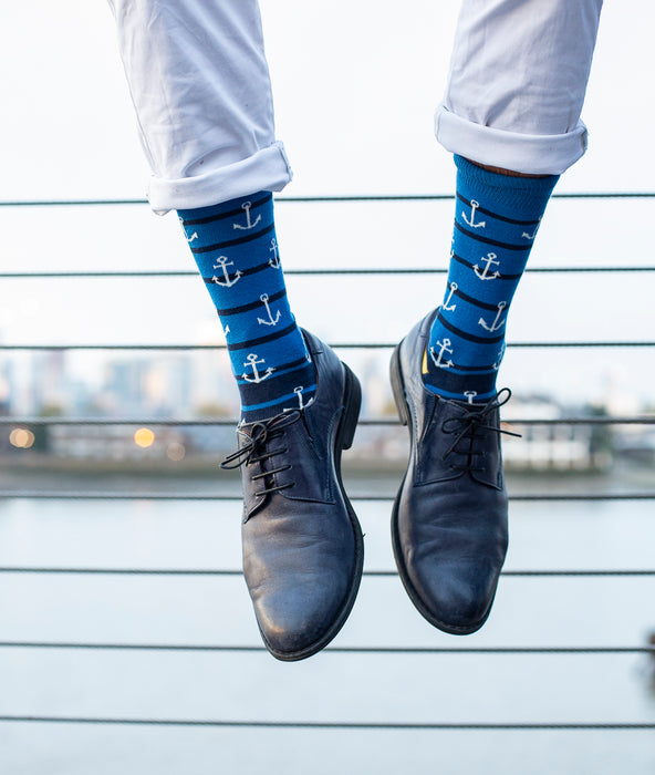 Anchors Fine Sock - navy