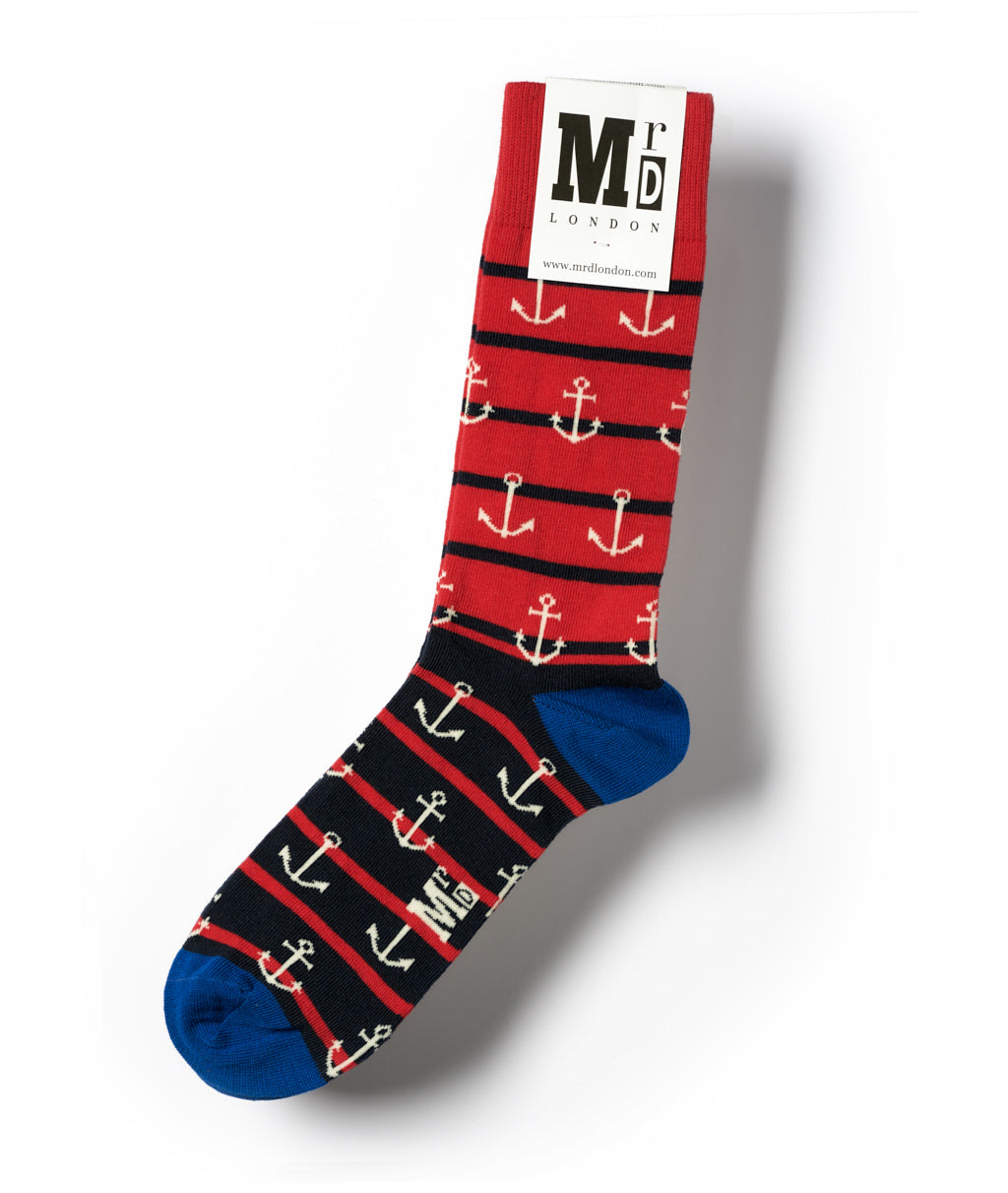 Anchors Fine Sock - Red