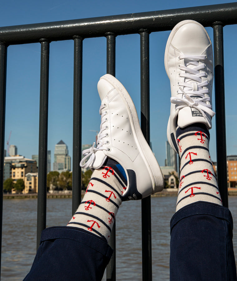 Anchors Fine Sock - White
