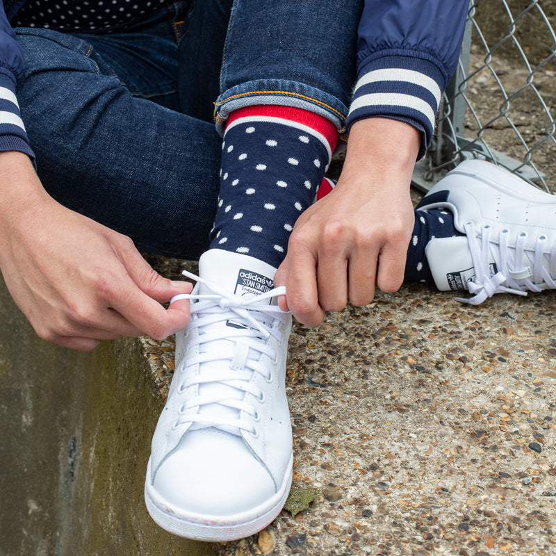 Spotted Fine Sock - Navy/White