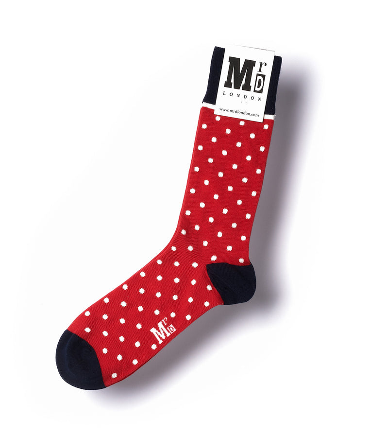Spotted Fine Sock - Red/White
