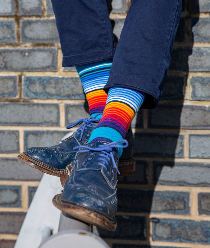 Striped Fine Sock - Blue/Orange