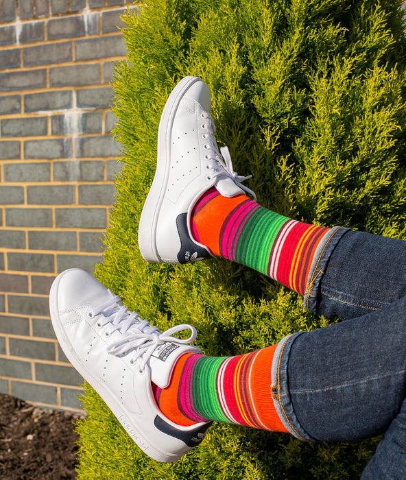 Striped Fine Sock - Orange/Green