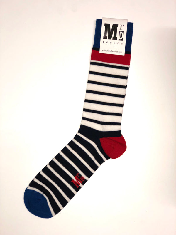 Breton Striped Fine Sock - Blue/Red/Navy