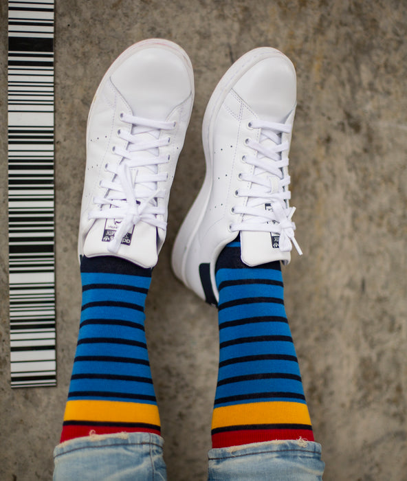 Breton Striped Fine Sock - Blue/Red/Yellow