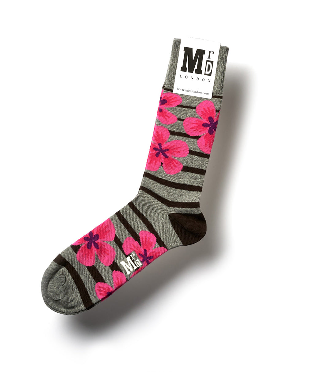 Flower Fine Sock - Grey 1