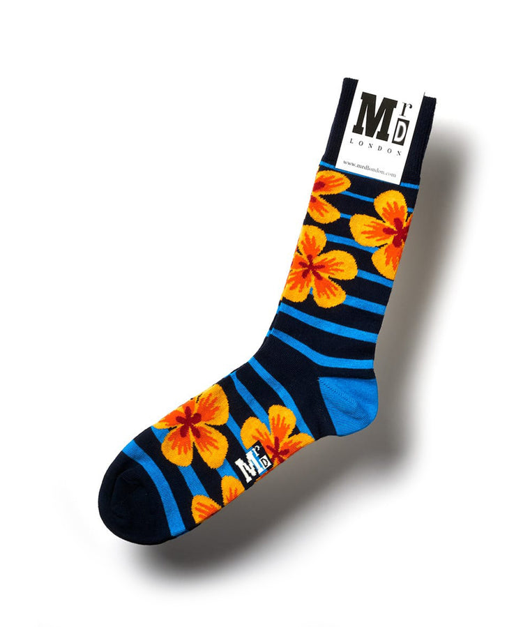 Flower Fine Sock - Navy