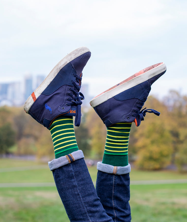 Breton Stripe 9 Gauge Sock - Green