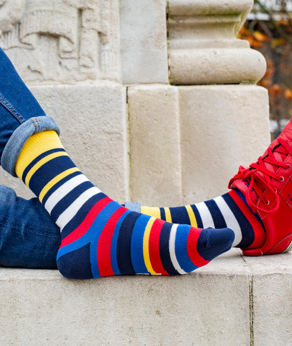 Multi Stripe 9 Gauge Sock - Navy