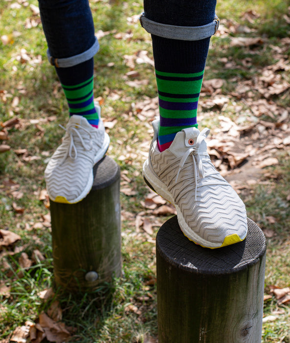 Multi Stripe 9 Gauge Sock - Green