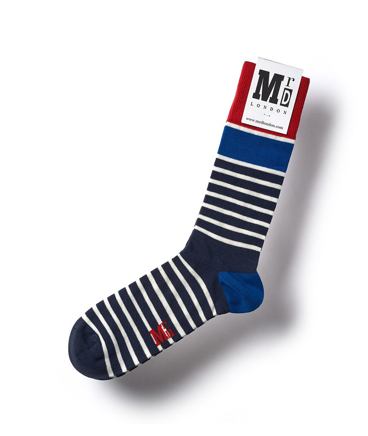 Marine Stripe Fine Sock - Blue