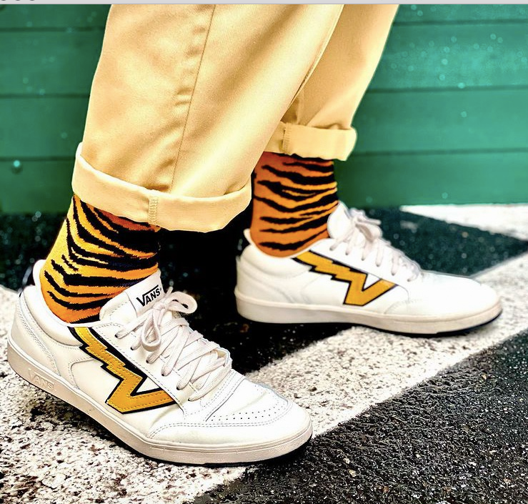Tiger Stripes Fine Sock - Orange/Black