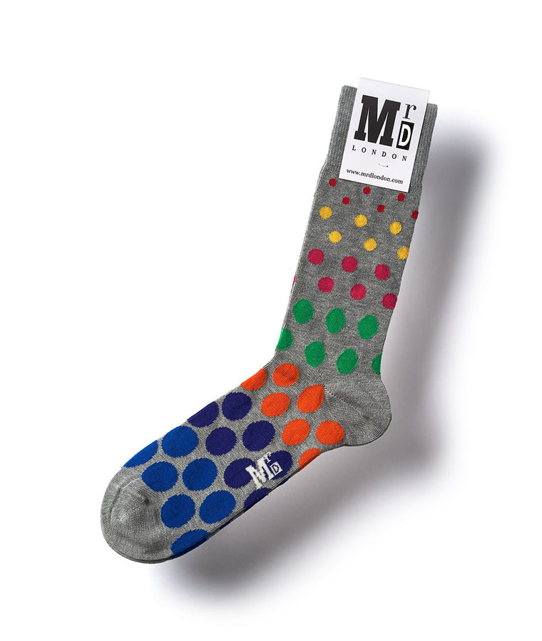 Spotted Fine Sock - Grey Multi