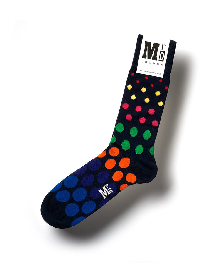 Spotted Fine Sock - Navy Multi