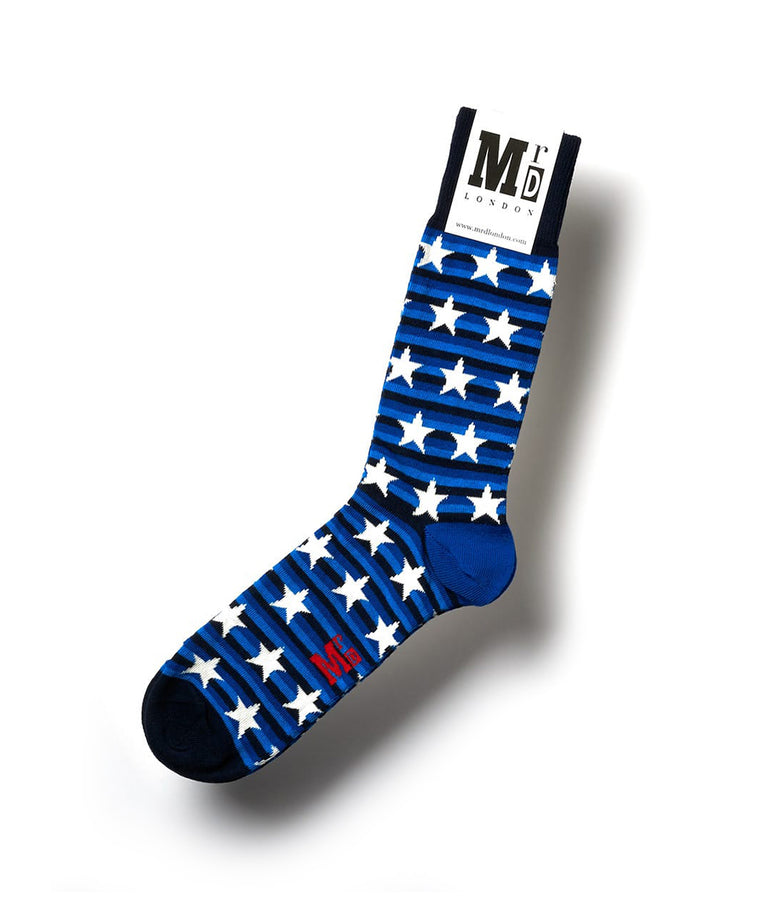 Striped Fine Sock - Blue/White Stars