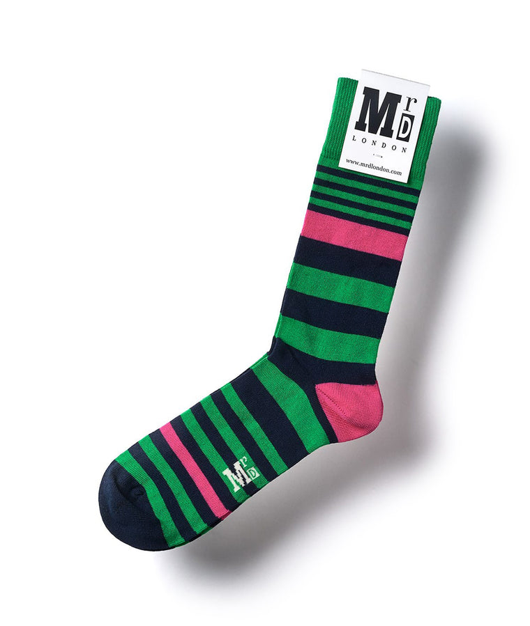 Striped Fine Sock - Green Multi