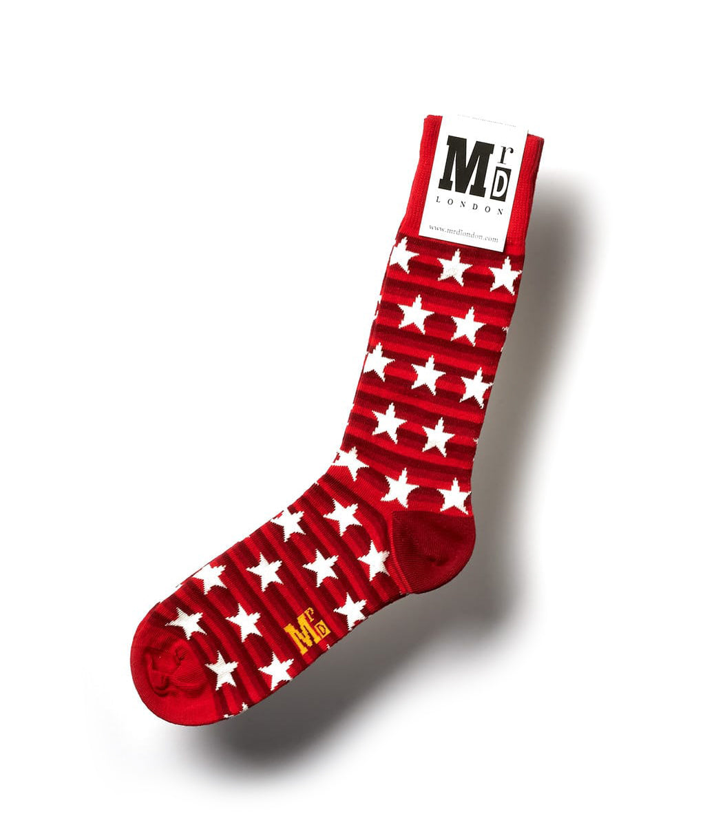 Striped Fine Sock - Red/White Stars 1