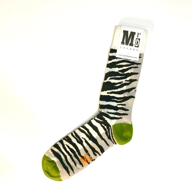 Zebra Stripes Fine Sock - White/Black