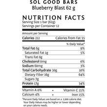 Sol Good Organic Protein Bar Blueberry Blast 62 Grams x 12