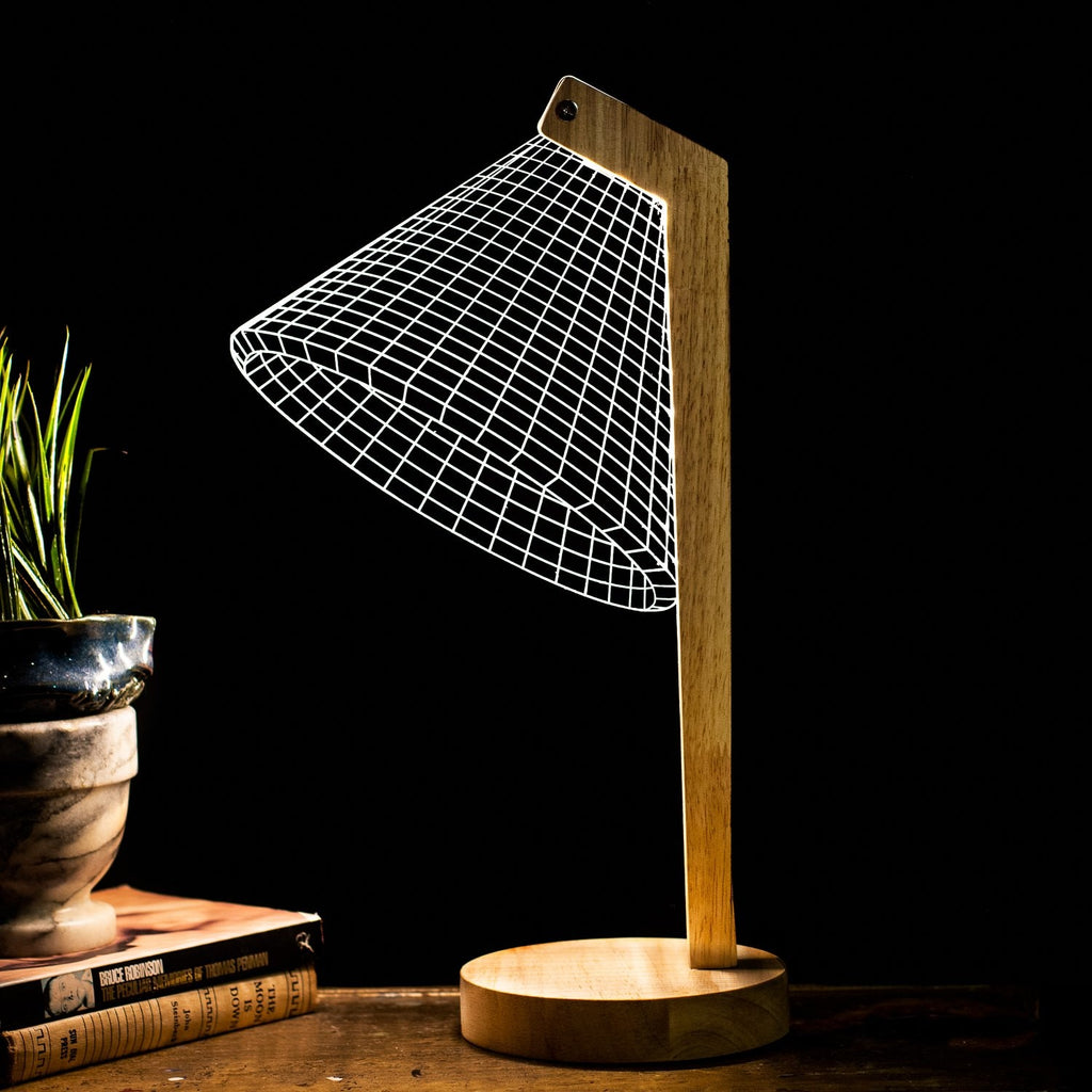 3D Illusion Light - Modern (wood & white base)