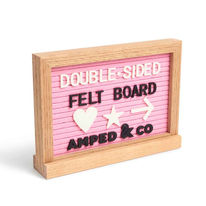Double-Sided Pink Felt Letterboard + Whiteboard