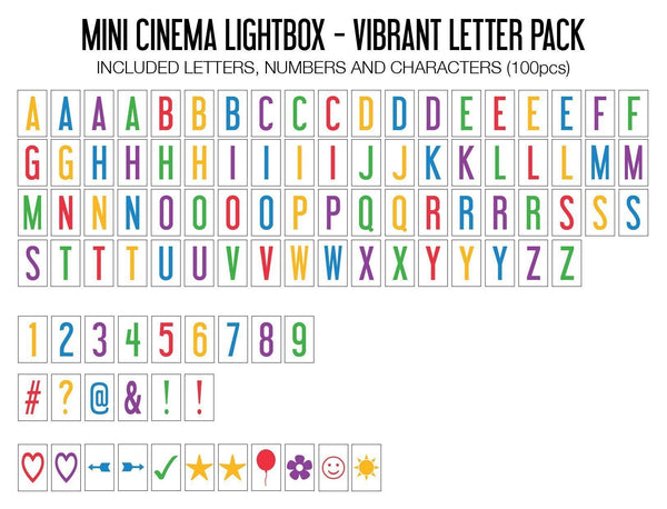 My Cinema Lightbox - Vibrant Letter Pack (Mini Lightbox)