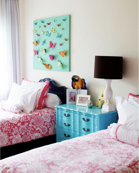 turquoise nightstand  Photo credit: Rue Magazine