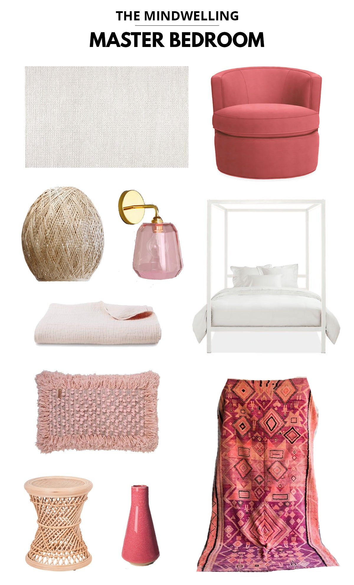 Blogger Kelly Mindell of Studio DIY Pink Master Bedroom Moodboard