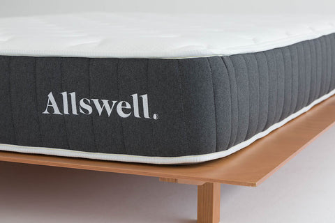 closeup on allswell mattress on frame