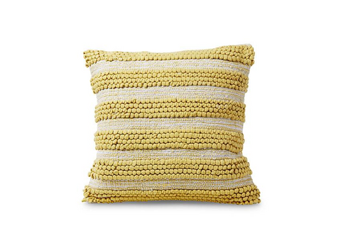 Globally Inspired Yellow Cotton Textured Pillow