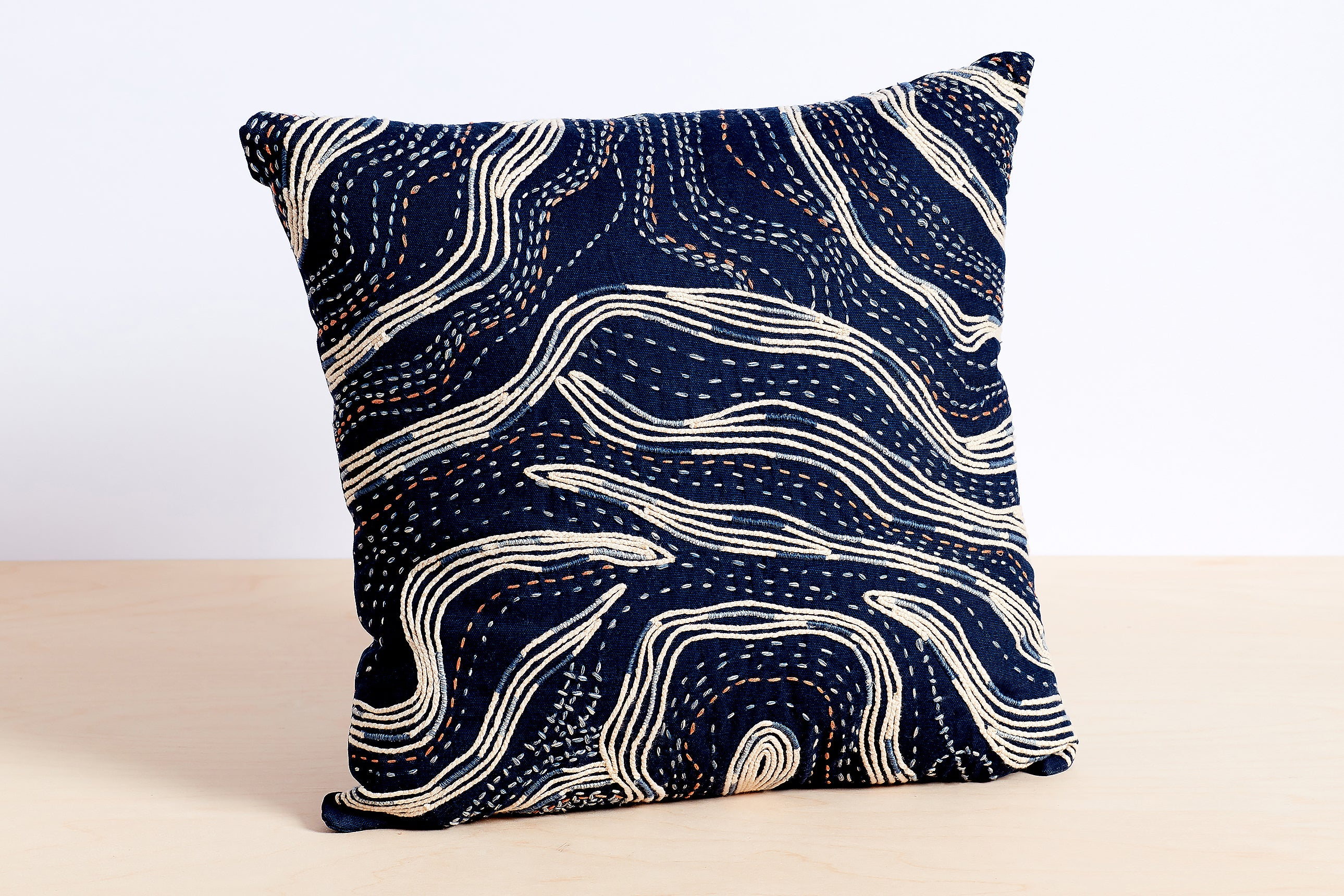 Waves Embroidered Pillow