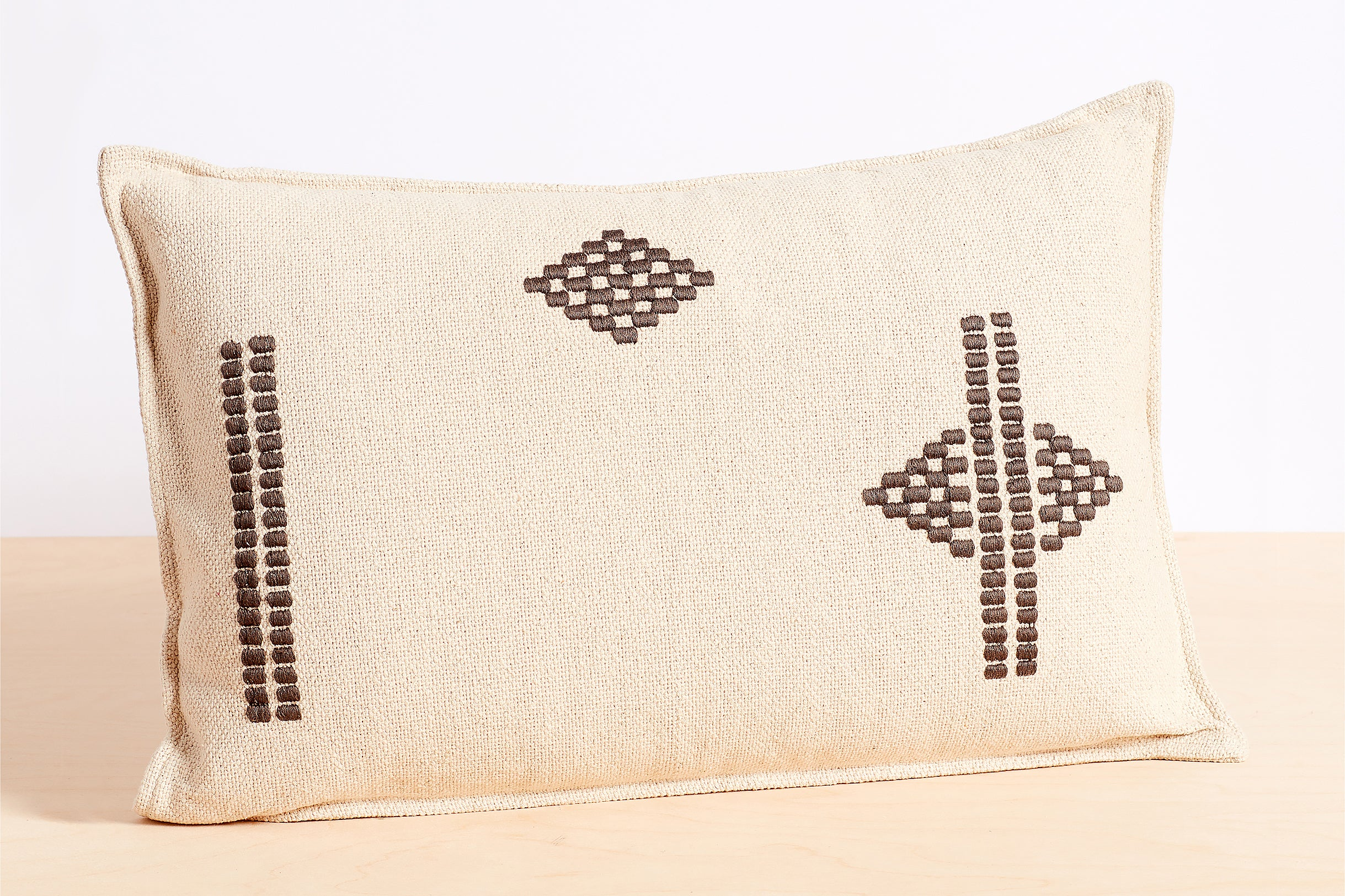 Embroidered Lumbar Pillow