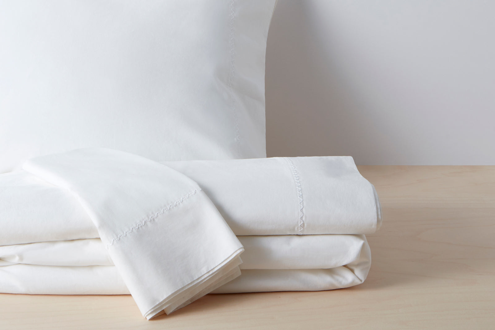 Organic Garment Wash Percale Sheet Set; color: white