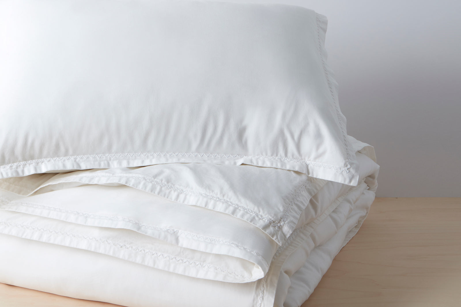 Organic Garment Wash Percale Duvet Cover Set; color: white