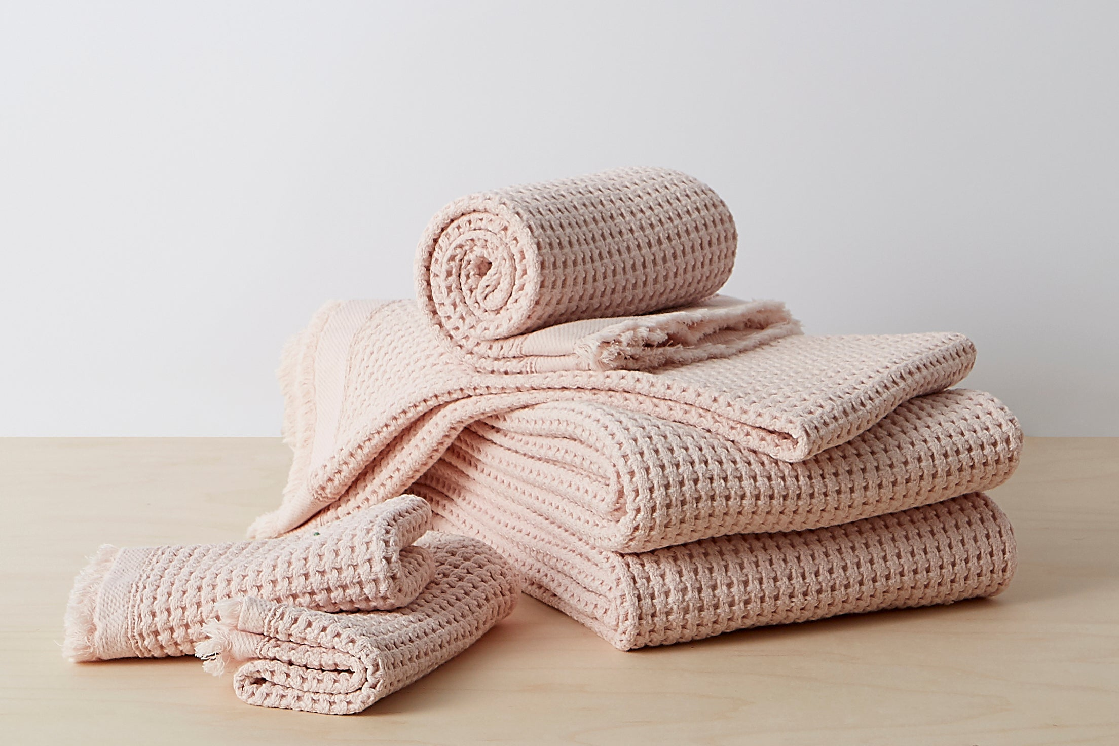 Stonewashed Waffle Towels Bundle; color: blush