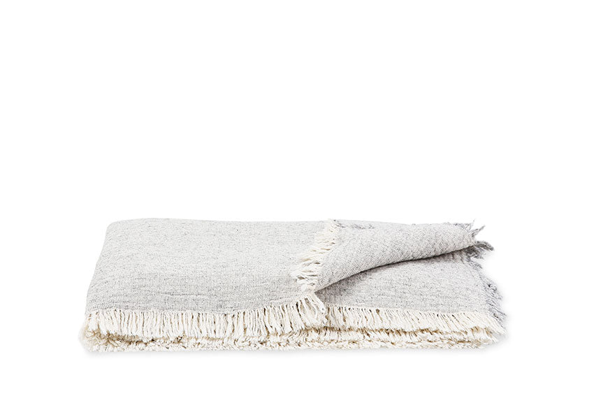 lightweight gray blanket with frills on the end