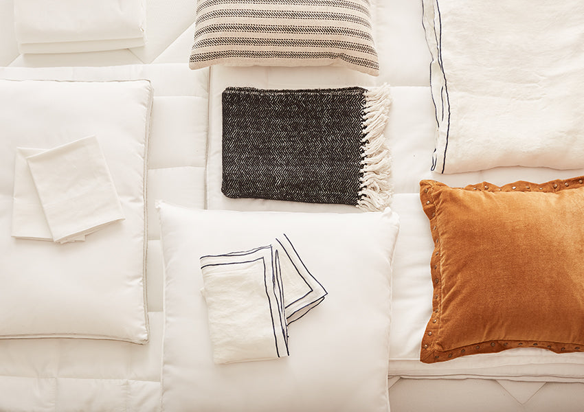 brown, gray and white sheets, pillows and duvet cover set