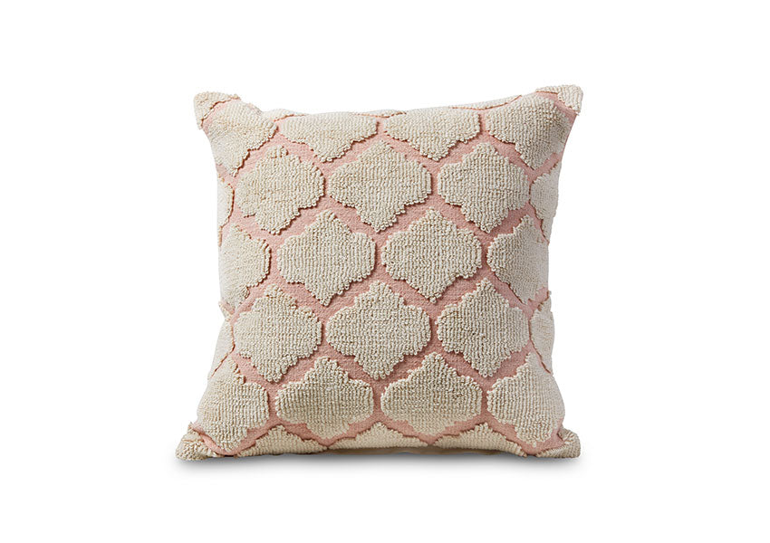 Pink and beige woven pillow