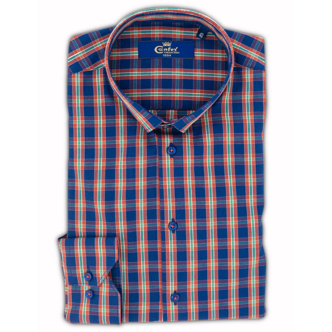 Cămașă Confex - Slim-Fit - Carou Blue Orange