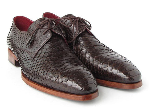 Paul Parkman Men's Brown Genuine Python Snakeskin Derby Shoes