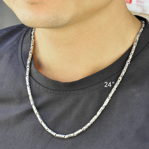 ... 24 · Vintage Bamboo Thai 925 Sterling Silver Chain Necklace Men 18