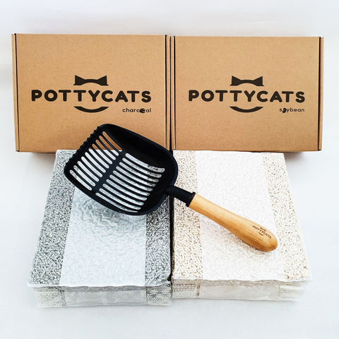 Pottycats tofu litter in Charcoal and Original with jumbo scooper