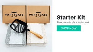 Pottycats Starter Kit comes with original and activated charcoal natural tofu cat litter with large litter scooper