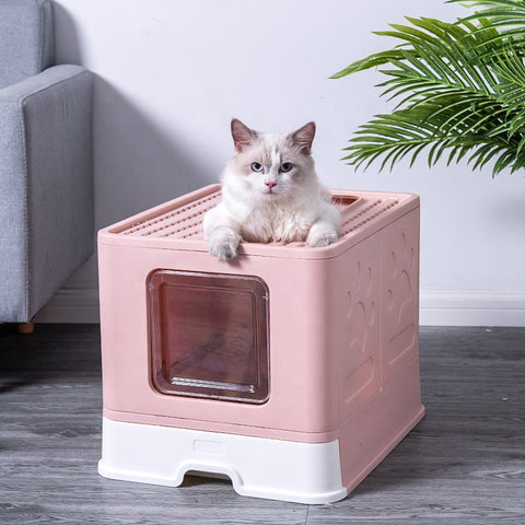 Ragdoll cat peeping out from open top pink litter box