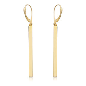 14k Gold Column Long Earrings