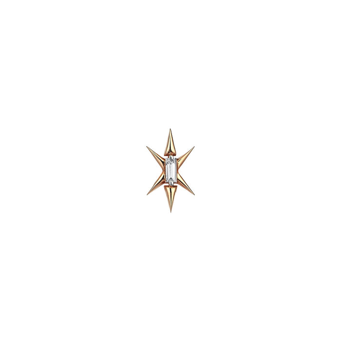 Gold Star Diamond Baguette Earring